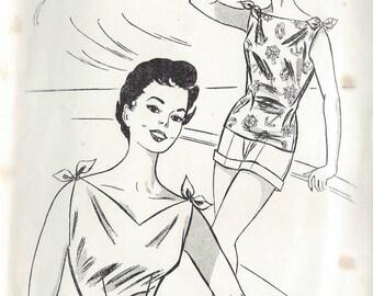 1950s Vintage Sewing Pattern B38 BLOUSE (1322) Le Roy 1116