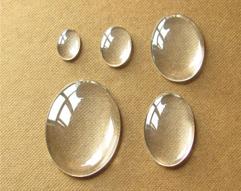 Bulk 50 Oval Clear Glass Cabochon Elliptic Dome Flat Back Magnify Inserts Transparent Domes 10x8mm 14x10mm 18x13mm 25x18mm 30x20mm 40x30mm
