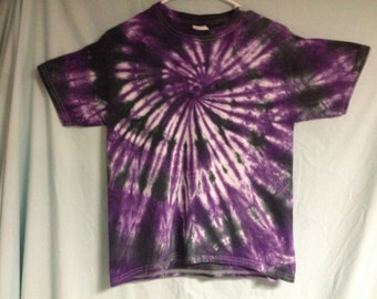 Tie Dye T-shirt - Halloween Spiral - Purple Black; Adult or Child Boy or Girl Any Size Avaiable