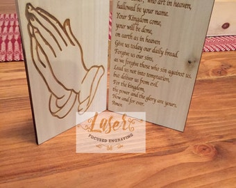 Personalized Engraved Our Lords Prayer with Praying Hands Religious gift grieving gift