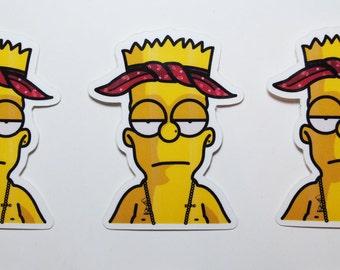 Bart Simpson x Tupac Gloss Coated Vinyl Die Cut Stickers // Tu-Bart
