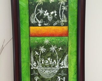 Original Warli Art painting by our shop's own Artisan - Acrylic on Canvas in Green, Yellow on a Green background