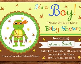 Tmnt Baby Shower Invitation, Ninja Turtles  Baby Shower Invitations, Turtle Baby Shower party -DIGITAL FILE