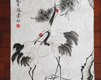 Traditional Chinese Painting, Original Painting,  Cranes, pine tree, Ink & watercolor Painting, Study Decoration, Living Room, housewarming