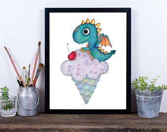 Dragon Digital Download Art, Nursery Art Print, Dragon Print, Instant Download, Printable Art, Nursery Prints, Pencil Art, Dragon Drawing