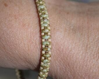 Light green picasso superduo beaded bracelet
