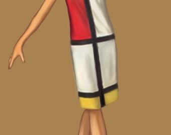 Mondrian dress, medium size (44) pattern, PDF file A4 pages