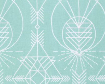 Native Aqua, Wander Collection by Joel Dewberry, Quilting Cotton, Gender Neutral Fabric