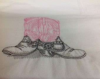 Pink/Brown Cowgirl Boots dish towel
