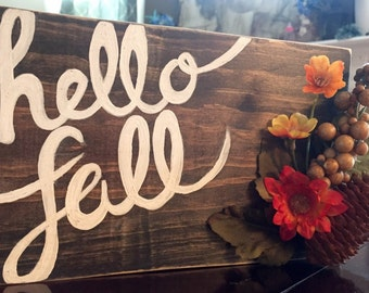 Hello Fall Wood Accent FREE SHIPPING!!