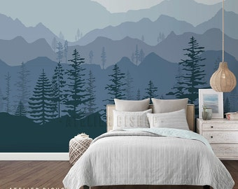 Ombre Mountain Scenery with Pine forest trees wallpaper instant wall transformation ready to apply