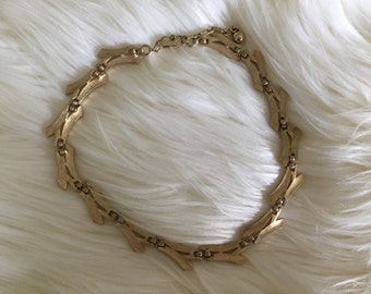 Vintage Signed Crown Trifari Bamboo Necklace, Brushed Gold