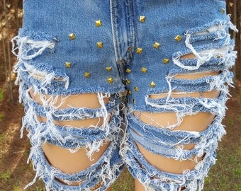 Distressed Shorts, Embellished Shorts, Unique Shorts.