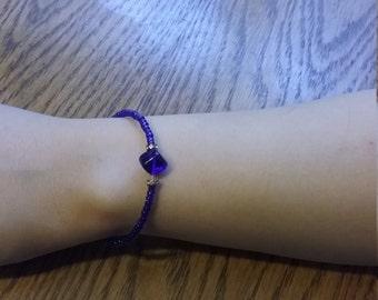 Sapphire glass beaded bracelet