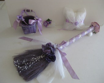 Purple Lavender Blush Broom with coordinating Flower Baskert, Ring Bear Cushion and Hair Accessories