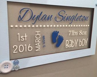 New baby birth handmade personalised plaque