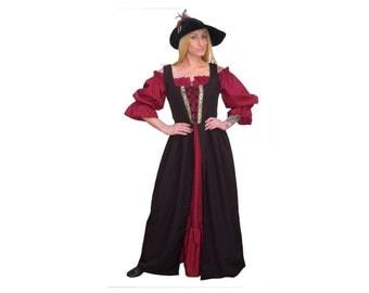 Fd10-3x Dark Brown Medieval Renaissance Clothing costume skirt bodice pirate peasant wench highlander Over-Dress