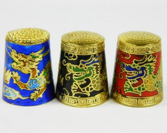 3 Cloisonne Copper Brass Enamel Thimbles Thumbstalls,Dragon Pattern,Blue Black Red 3 Colors,Special Souvenir Collectible,Chinese Handicraft