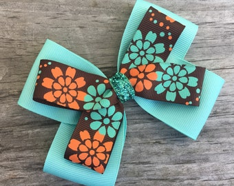 Brown and Aqua Flower Print Bow