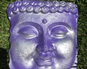 Concrete Buddha Face Garden Patio Decor Art Purple Silver Sheen