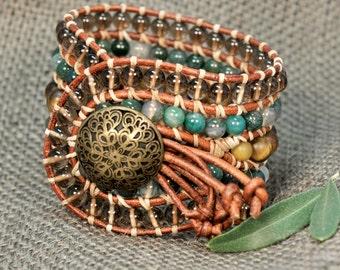 Nefertiti * 5 strand Statement Wrap Bracelet. Boho Style. Bohemian Jewelry. Semiprecious stones. Gift for her. Unique Design.