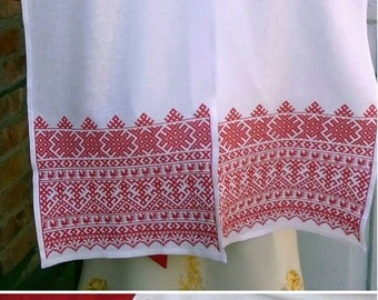 Towel Makosh; Embroidery slavic towel; Ritual Russian towel