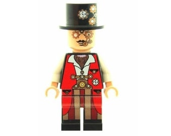Custom Design Minifigure - New Craze Steampunk Dude Printed On LEGO Parts