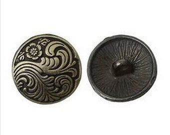6 bronze round buttons 1.7 cm sewing scrapbooking flower and RAMAGE