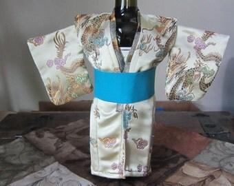 Wine Bottle Kimono in cream/cream and blue