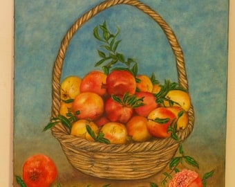 Pomegranates in a basket canvas painting