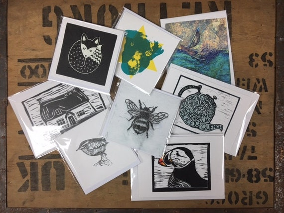 Pack of 8 Cards • Lino Print Cards • Etching Print Cards • Collagraph Print Cards • Greeting Cards • Wildlife Cards • Landscape Cards