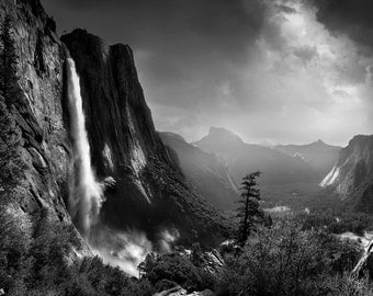 Yosemite Falls and Half Dome, landscape, photography, waterfall, valley,