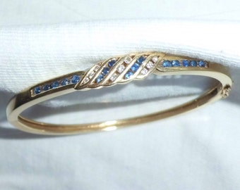 "Vintage 14k Gold HEAVY Diamond Sapphire Bracelet Cuff Rigid w/ Locking Clasp marked 14 k kt 15.0g 6.5"" Long Matching Necklace avail 14kt 585"