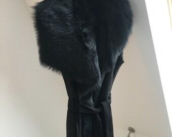 Toscana Collar Shearling Long Gilet Coat - XS-S Black