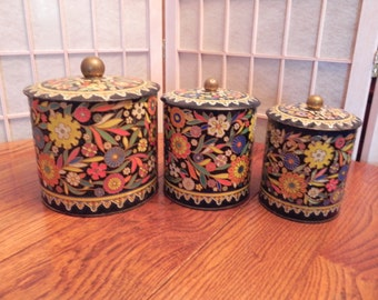 3 Colorful, Vintage, Mosaic Patterned Canisters.