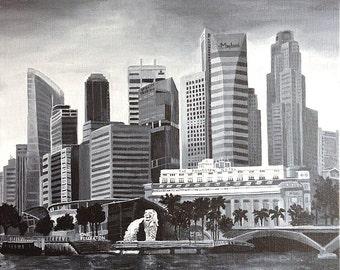 Singapore Skyline Original painting , Acrylics on canvas