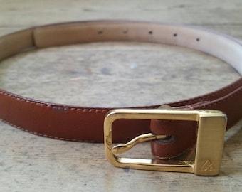 Vintage Brown Leather Skinny Belt. Vintage Liz Claiborne Designer Belt. Vintage Brown Leather Belt with Brass Hardware. Size Large.