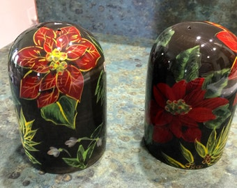 Large Poinsettia Salt and Pepper Shakers 1980  Era