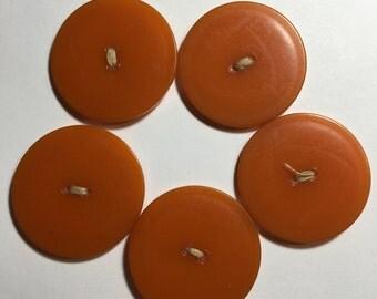 FIVE Large Pumpkin Orange Vintage Bakelite Buttons