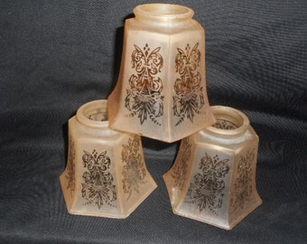 Antique Etched Chandelier Shades Soft Peach For 3 Arm Pan Light Fixture