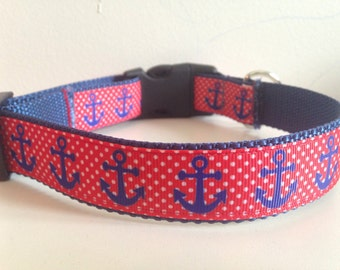 1 inch Red Polka Dot With Blue Anchors Large Dog Collar