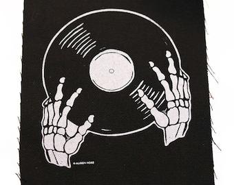 Vinyl is not Dead Black Screen Printed Patch