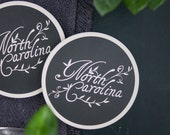 Coaster Set, Housewarming Gift, Home Decor, North Carolina, Hand Lettered, Ceramic, Cursive Font, Black and White Print