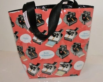 Polaroid Camera Fabric Reusable Lunch Bag, Lunch Sack, Reusable Bag