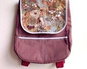 Brown Vintage Batik Print Fabric Backpack, Petite Adults Ladies Womens Backpack, Kids Fabric Backpack - Forest Wanderlust (Chestnut Flora)