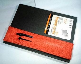 Red notebook filofax pencil case pen holder planner elastic bandolier, stationery sketch book accessory astuccio portapenne