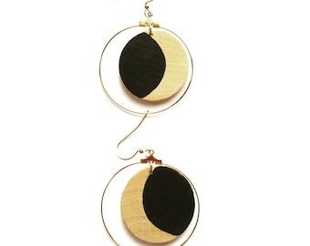 Crescent Moon Earrings/ Bohemian Jewelry/ Moon Earrings/ Hoop Earrings/ Gold hoops/ Witchy Jewelry/ Wooden Earrings