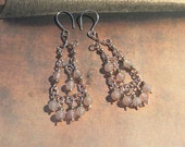 Long Chandelier Rose Quartz, Rose colored Sterling Silver Plated Copper Earrings