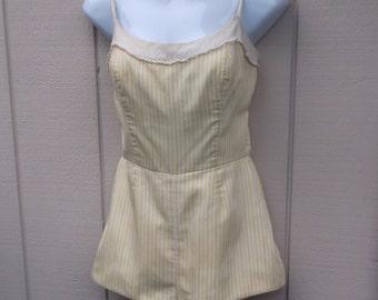 Vintage 50s Yellow Striped SWIMSUIT - Lanz Original Pin-up Playsuit Bathing Suit / sz Med ~ 36C