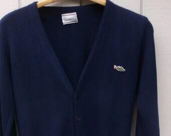 Vintage 70s Dark Blue Sears Grandpa Cardigan Sweater with Dragon logo / Golf - Boyfriend Cardi // Med
